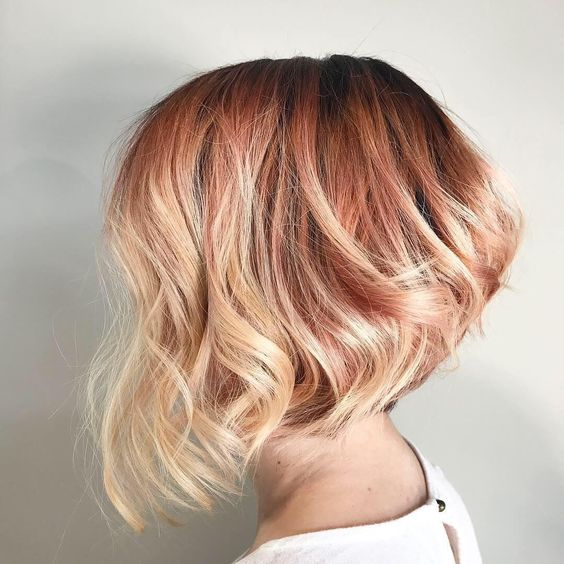 cropped light red blonde hair