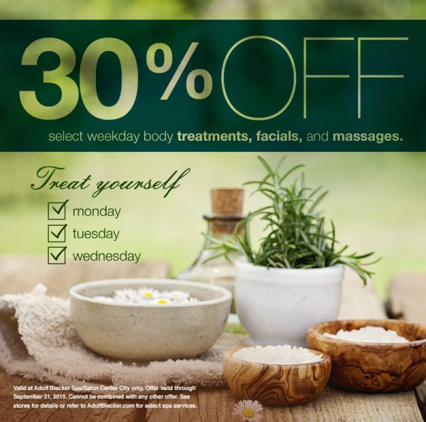 September spa specials in center city adolf biecker spa for Adolf bieker salon