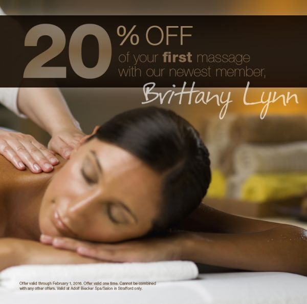 20 off massages with brittany adolf biecker spa salon for Adolf bieker salon