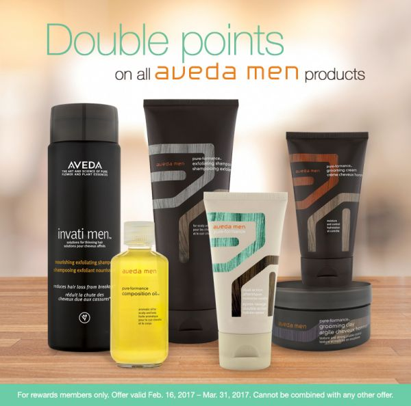 Aveda products for men on display