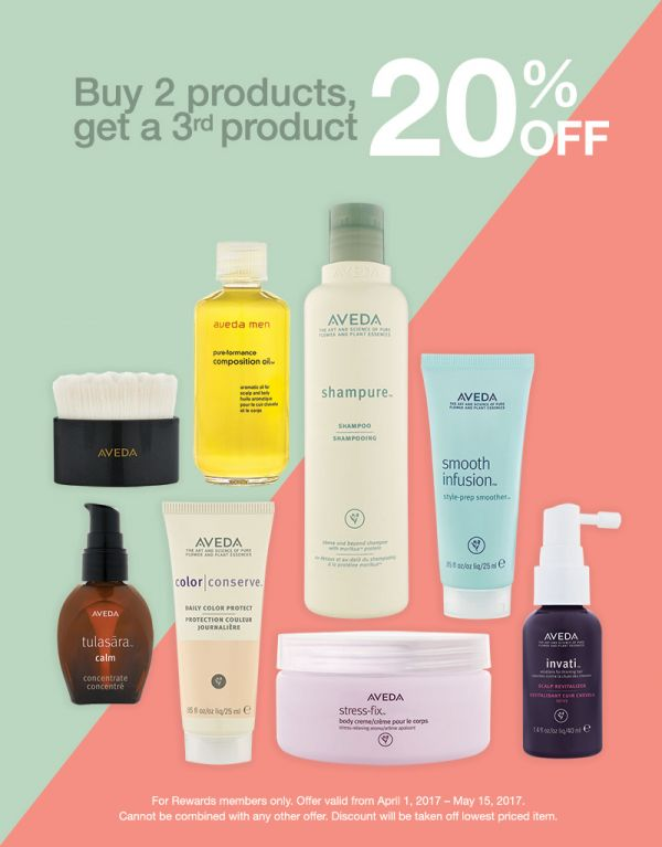 Aveda products offering sale on spring beauty products
