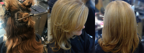 Three images of beauty salon client hair before during after