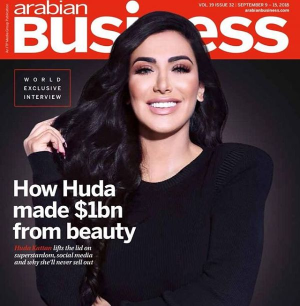 Huda Kattan on the cover of Arabian Business
