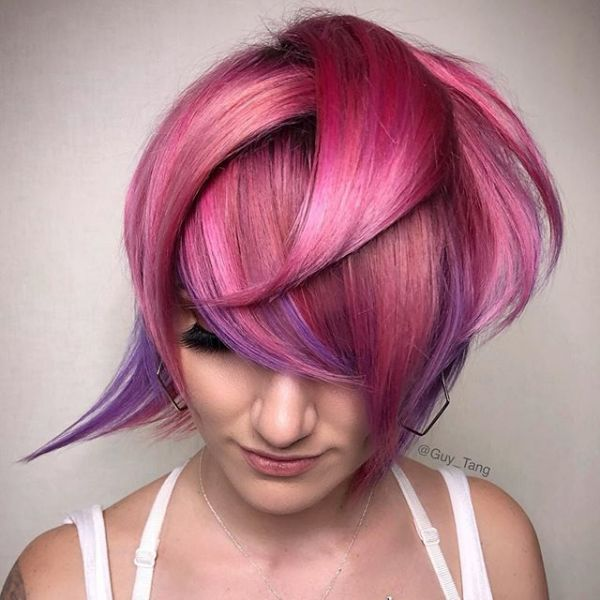 Pink and purple pixie cut from instagram