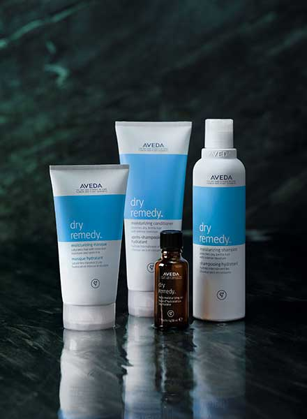 Aveda's dry remedy products on display