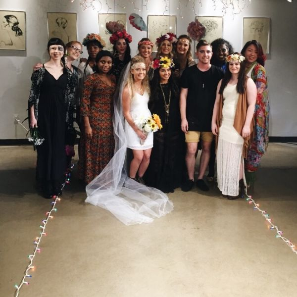 Group image of fashion show beauty school students