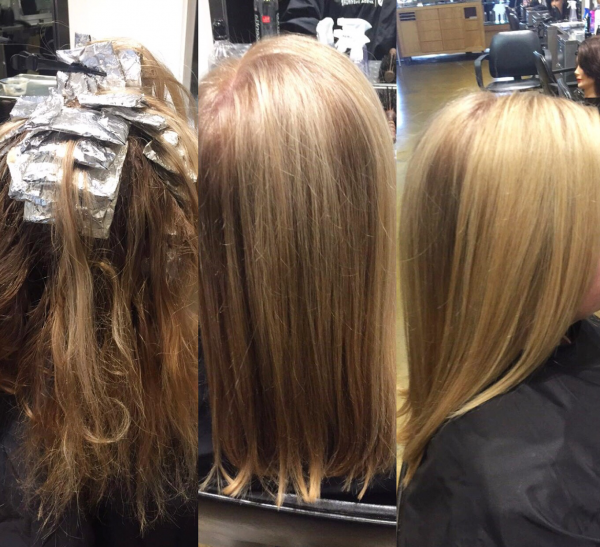 Images of salon client with hair foils and highlight after image