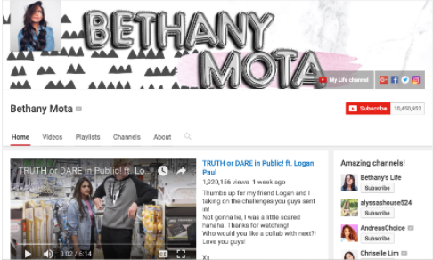 Screenshot of Bethany Mota's youtube channel