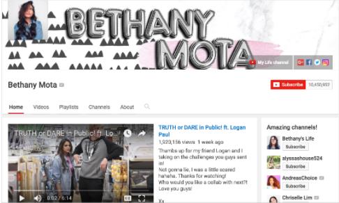 Screenshot of Bethany Mota's youtube channel