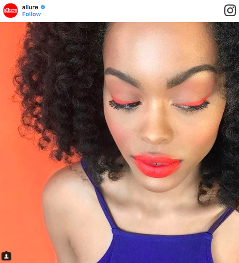 woman with red liner