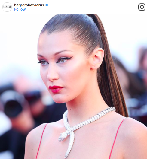 Bella Hadid with graphic liner