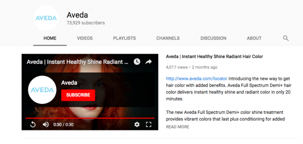 Aveda you tube feature video