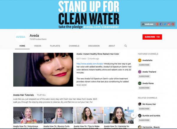 Aveda youtube profile