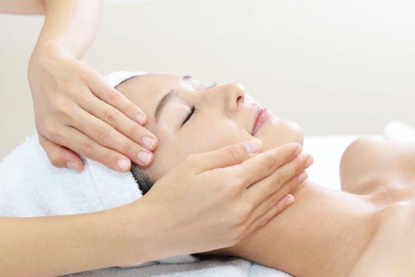 woman receiving a facial