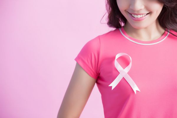 breast cancer awareness ribbon on pink shirt